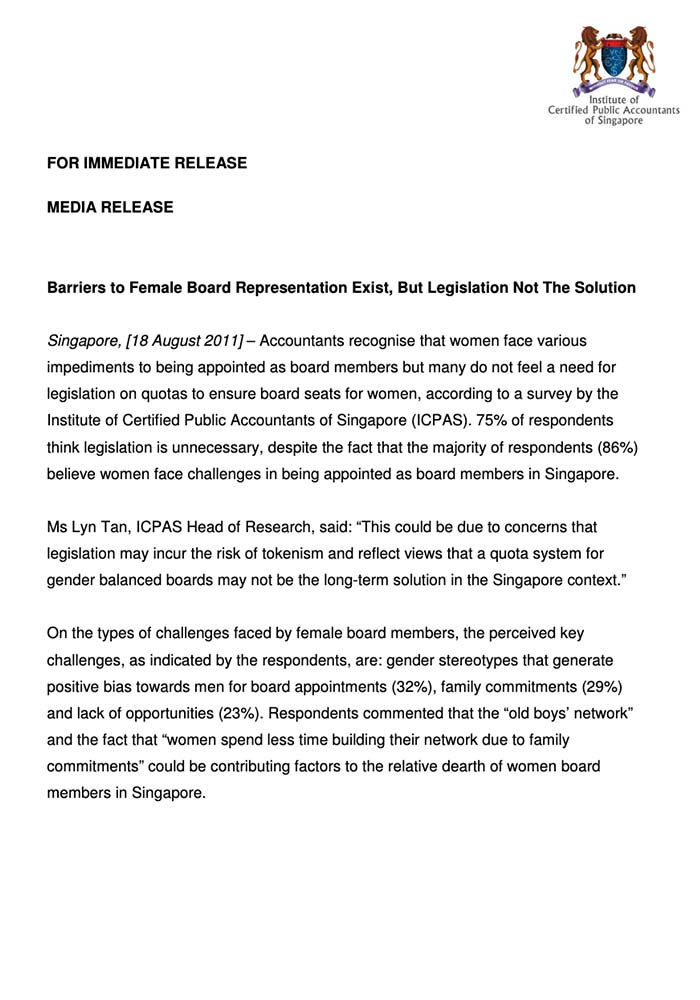 MEDIA RELEASE – BARRIERS TO FEMALE BOARD REPRESENTATION EXIST, BUT LEGISLATION NOT THE SOLUTION