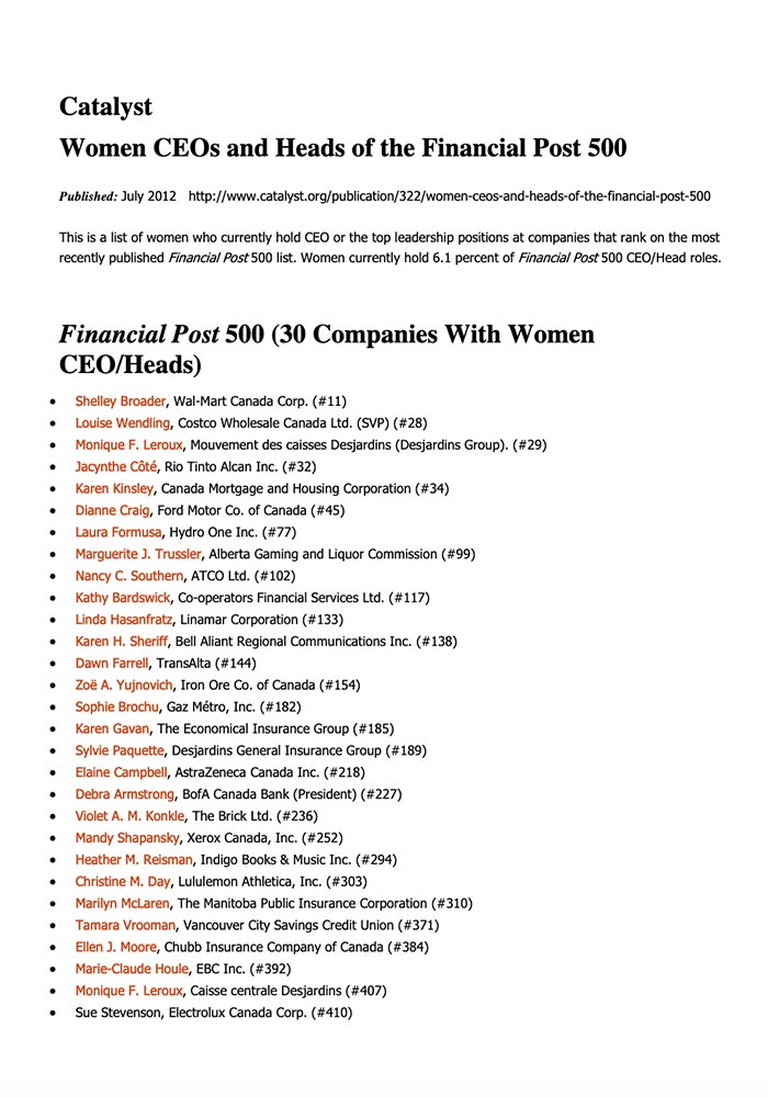 CATALYST: 2012-WOMEN CEOS AND HEADS OF THE FINANCIAL POST 500